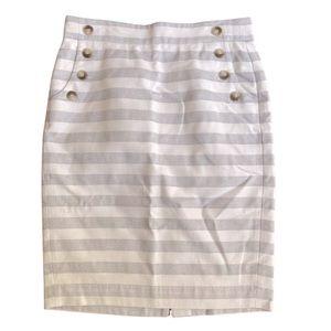 Loft white & gray striped cotton pencil skirt Front Pockets. Decorative buttons